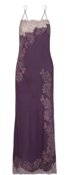 Carine Gilson Chantilly Lace-trimmed Silk-satin Nightdress - Grape