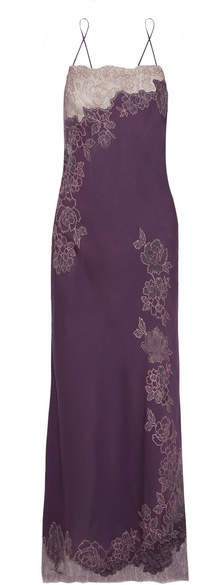 Carine Gilson Chantilly Lace-trimmed Silk-satin Nightdress - Grape