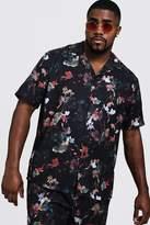 BoohooMAN Big & Tall Oriental Floral Revere Collar Shirt
