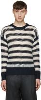 Marc Jacobs Navy Striped Crochet Sweater