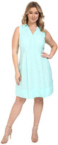 Sangria Plus Size Textured Skirt Dress Fit & Flare w/ Collar