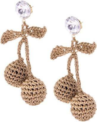 Venessa Arizaga Women's Gold Plated Round White Crystal Rhinestones Brown Cherry Picking Crochet Stud Earrings