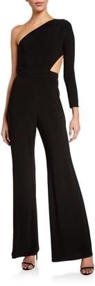 SHO One-Shoulder Side-Cutout Jersey Jumpsuit