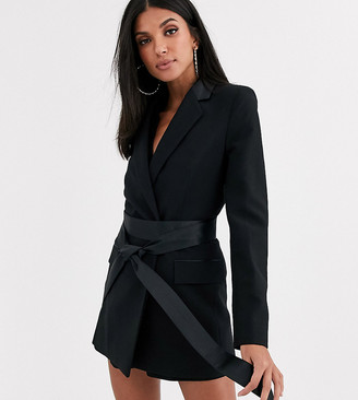 Asos Tall DESIGN Tall wrap belted tux suit blazer-Black