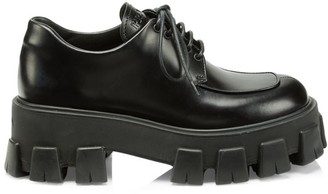 Prada Lug-Sole Polished Leather Creepers
