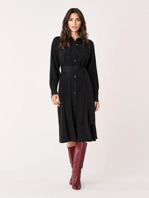 Diane von Furstenberg Antonette Silk Crepe de Chine Midi Shirt Dress
