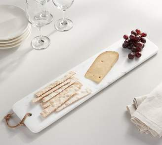 Pottery Barn White Marble Cheese Board with Leather Loop