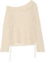 Jonathan Simkhai One-shoulder Faux Pearl-embellished Crocheted Cotton-blend Top - Ecru