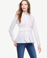 Ann Taylor Cinch-Waist Poplin Top