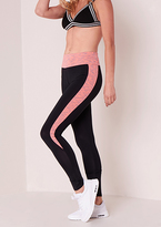 Missy Empire Kalani Black Pink Panel Detail High Waisted Leggings