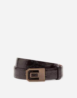 Dolce & Gabbana Shiny Crocodile Skin Belt With Enameled Buckle