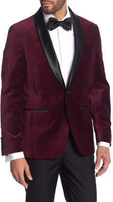 Savile Row Co Burgundy Shawl Collar Single Button Velvet Suit Separate Sport Coat