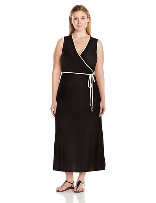 Star Vixen Women's Plus Size Sleeveless Faux Wrap Maxi Dress with Contrast Piping