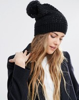 Helene Berman Sequin Slouchy Beanie Hat With Pom