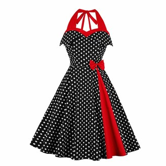 Wellwits Women's Polka Dots Bowknot Off Shoulder Halter Vintage Dress M Black