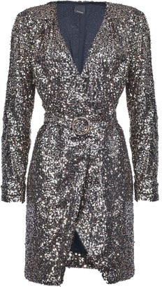 Pinko Sequin Embellished Belted Dress