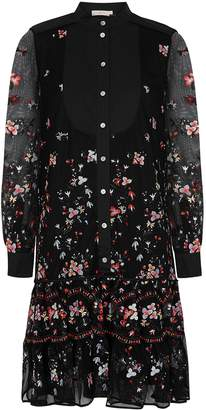 Tory Burch Black Floral-embroidered Tulle Dress