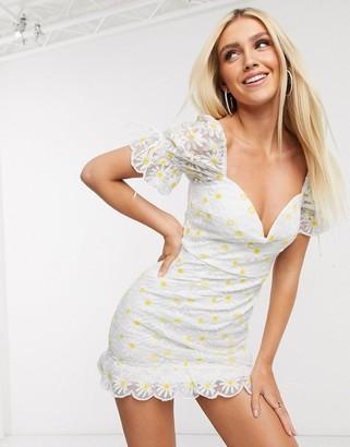Love Triangle mini dress in daisy lace