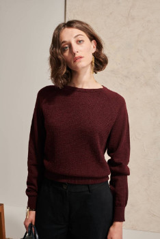 Melange Home Le Mont Saint Michel - Burgundy Alpaca Syndra Knit Womens Sweater - xs | Alpaca | burgundy - Burgundy