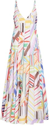 Rosie Assoulin Million Pleats V-Neck Watercolor Dress