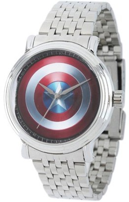 Marvel Avengers: 75th Anniversary Shields Men's Silver Vintage Alloy Watch, Silver Stainless Steel Bracelet