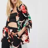 River Island Womens Black floral polka dot print tie cuff blazer
