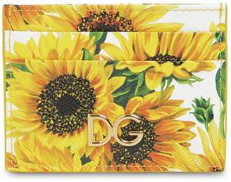 Dolce & Gabbana GIRASOLI PRINTED LEATHER CARD HOLDER