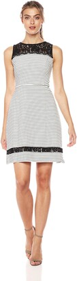 Taylor Dresses Women's Sleeveless Corded Knit pin Stripe a line Dress