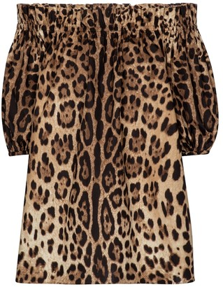 Dolce & Gabbana Leopard-print cotton poplin blouse