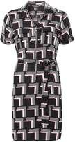 Dorothy Perkins Pink Geo Zip Front Shirt Dress