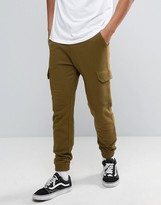 Asos Skinny Joggers With Cargo Pocket In Khaki