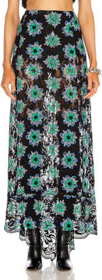 Paco Rabanne Floral Printed Maxi Skirt in Black Geometrical Flower | FWRD