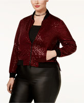 Rachel Roy Trendy Plus Size Sequined Bomber Jacket