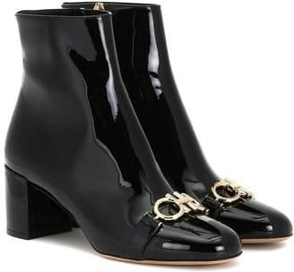 Salvatore Ferragamo Gancini patent leather ankle boots