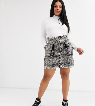 Asos DESIGN Curve washed mini skirt with d-ring and pockets