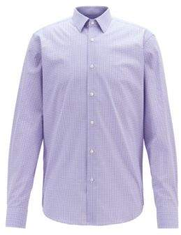 Regular-fit shirt in Vichy-check cotton with dobby motif