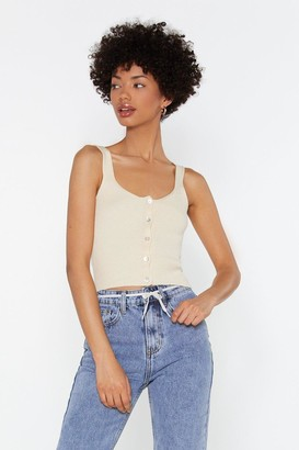 Nasty Gal Womens Mother Of Pearl Rib Knitted Cami Top - Ecru