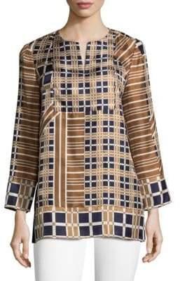 Lafayette 148 New York Long-sleeve Silk Plaid Top