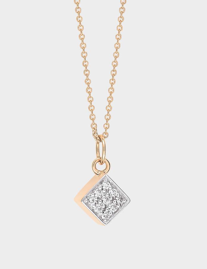 ginette_ny Mini Diamond Ever Square 18-karat rose gold necklace