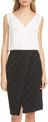 Rebecca Taylor Tailored by Lace Detail Silk Tank