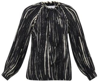 Proenza Schouler White Label Raglan-sleeve Paint-print Crepe Blouse - Womens - Black White