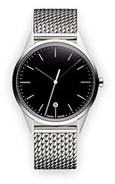 Uniform Wares C36 Quartz Watch with Black Analogue Dial with Silver Stainless Steel Strap