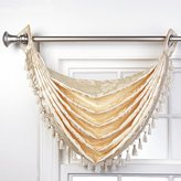 Style Master Stylemaster Home Products Renaissance Home Fashion Leah Jacquard Grommet Waterfall Valance with Tassel, 36 by 37-Inch, Beige