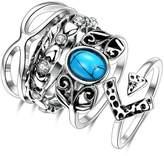 Epinki Fashion Jewellry Platinum Plated Womens Wedding Ring Fashion 5 Ring Set Size 7