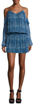 Ramy Brook Misti Printed Cold-Shoulder Mini Dress, Blue