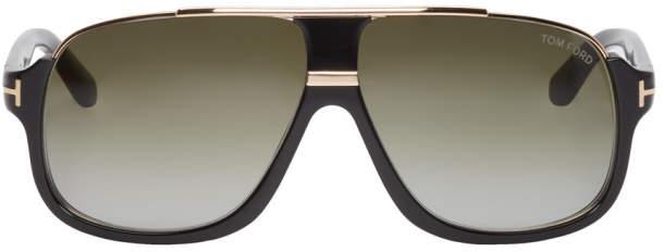Tom Ford Black and Gold Elliot Aviator Sunglasses