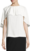 Escada Round-Neck Capelet Blouse, Off White
