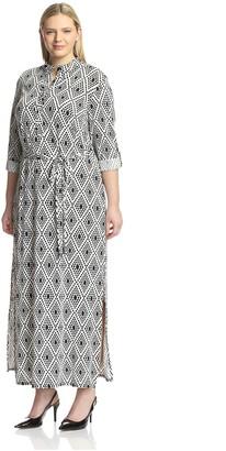 Melissa Masse Plus Women's Button Placket Maxi Dress