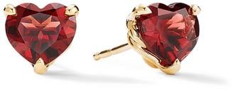 David Yurman Cable Heart Valentine's Day 18K Yellow Gold & Garnet Stud Earrings