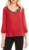 Bobeau V-Neck Cutout 3/4 Sleeve Top